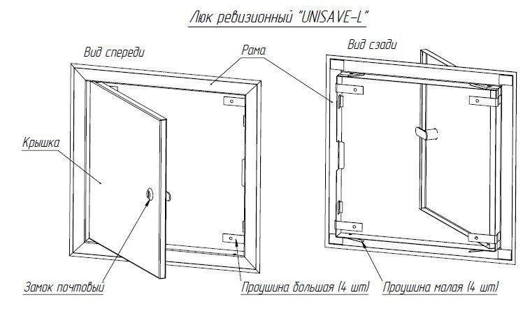 чертеж скрытого люка